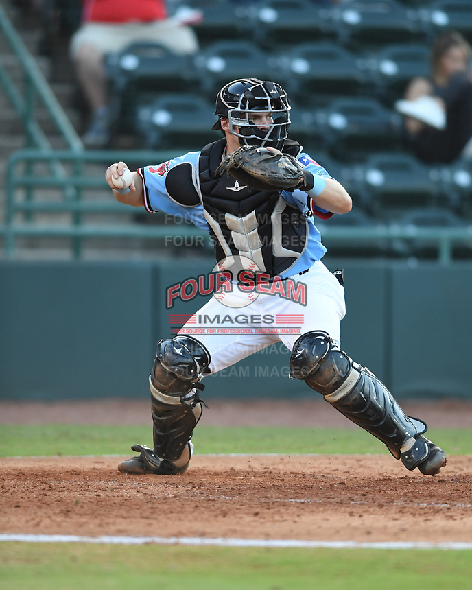 Hickory Crawdads catcher Matt Whatley (19) throws to second base during a game with the Asheville Tourists at L.P. Frans Stadium on May 8, 2019 in Hickory, North Carolina.The Tourists defeated the Crawdads 7-6. (Tracy Proffitt/Four Seam Images)