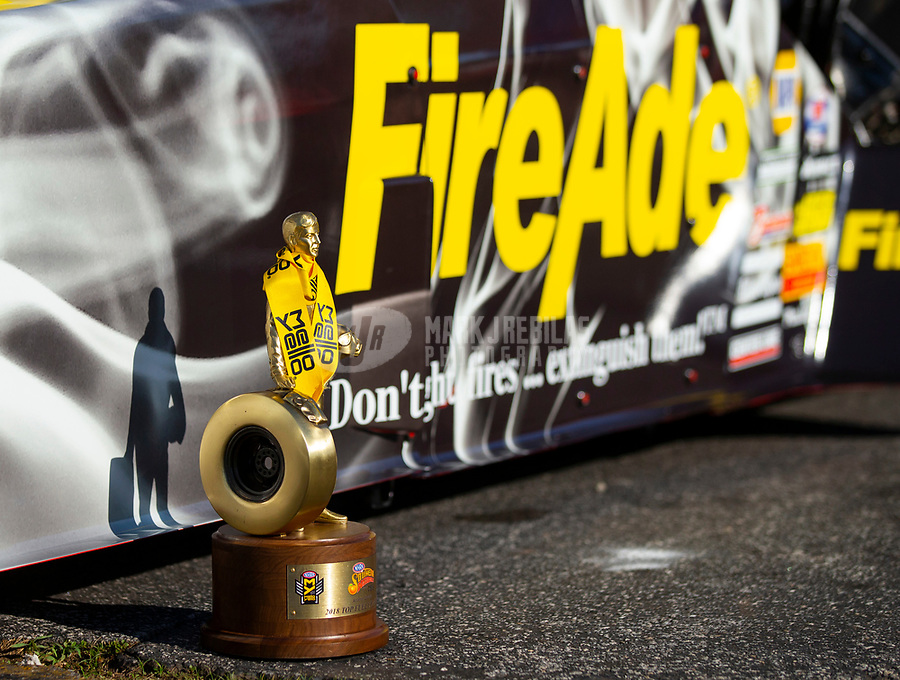 May 6, 2018; Commerce, GA, USA; Detailed view of the Wally trophy won by NHRA top fuel driver Leah Pritchett following the Southern Nationals at Atlanta Dragway. Mandatory Credit: Mark J. Rebilas-USA TODAY Sports