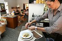 Preparazione del raviolone alla Nino Bergese con uova, spinaci, ricotta e tartufo, nel ristorante Lalibera di Alba.<br /> Preparation of the raviolone alla Nino Bergese dish with egg, spinach, ricotta and truffle, in the restaurant Lalibera in Alba, Piedmont.<br /> UPDATE IMAGES PRESS/Riccardo De Luca