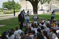 May 24, 2011 (Washington, DC): Congressman John Lewis (D-GA) speaks to a group of Texas students from the KIPP 3D Academy on the grounds of the U.S. Capitol, May 24, 2011.   (Photo: Don Baxter/Media Images International)