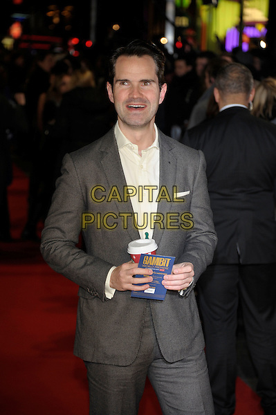 Jimmy Carr.'Gambit' world film premiere, Empire cinema, Leicester Square, London, England..7th November 2012.half length  white shirt grey gray suit smiling mouth open takeaway starbucks coffee cup .CAP/PL.©Phil Loftus/Capital Pictures.