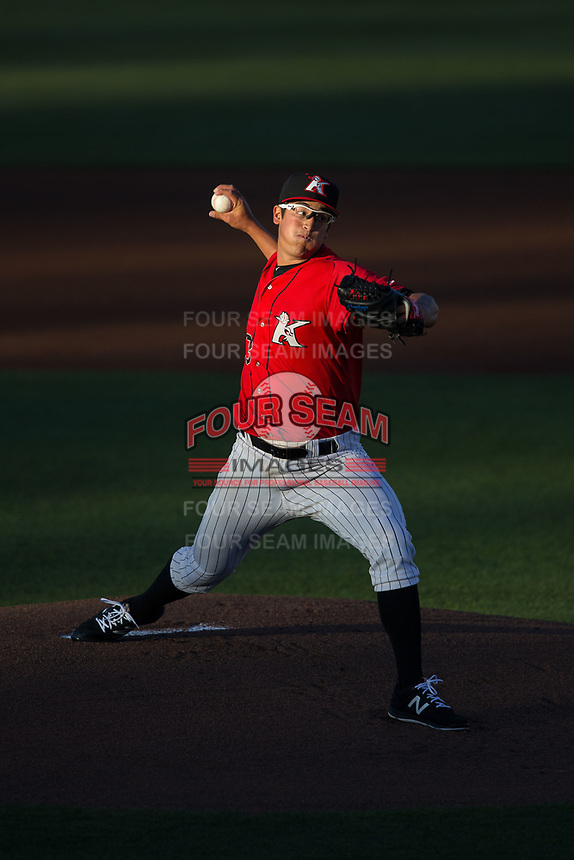 Kannapolis Intimidators starting pitcher Dane Dunning (33) delivers a pitch to the plate against the Lakewood BlueClaws at Kannapolis Intimidators Stadium on April 8, 2017 in Kannapolis, North Carolina.  The BlueClaws defeated the Intimidators 8-4 in 10 innings.  (Brian Westerholt/Four Seam Images)