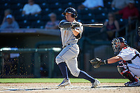 Peoria Javelinas Tyler O'Neill (11), of the Seattle Mariners organization, at bat in front of catcher Mitch Garver (23) during a game against the Surprise Saguaros on October 20, 2016 at Surprise Stadium in Surprise, Arizona.  Peoria defeated Surprise 6-4.  (Mike Janes/Four Seam Images)