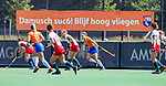 BLOEMENDAAL - spandoek Bloemendaal  tijdens de tweede Play Out wedstrijd hockey dames, Bloemendaal-MOP (5-1)  COPYRIGHT KOEN SUYK
