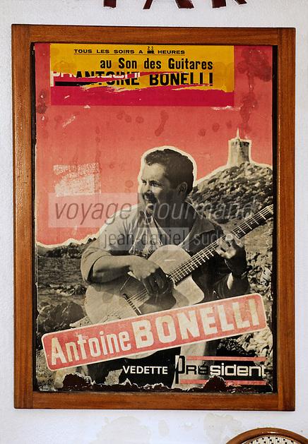 """France/Corse/Corse-du-Sud/2A/Ajaccio: Café """"Au Son des Guitares"""" - Détail d'une affiche"""