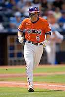 Mike Freeman #5 of the Clemson Tigers hustles down the first base line versus the Duke Blue Devils at Durham Bulls Athletic Park May 22, 2009 in Durham, North Carolina.  (Photo by Brian Westerholt / Four Seam Images)