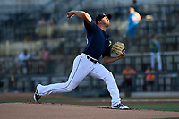 Starting pitcher Gary Cornish (23) of the Columbia Fireflies delivers a pitch in a game against the Lexington Legends on Thursday, June 8, 2017, at Spirit Communications Park in Columbia, South Carolina. Columbia won, 8-0. (Tom Priddy/Four Seam Images)