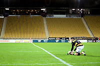 Beaudein Waaka prepares to kick for goal during the Ranfurly Shield Mitre 10 Cup rugby match between Taranaki and Manawatu at Yarrow Stadium in New Plymouth, New Zealand on Friday, 24 August 2018. Photo: Dave Lintott / lintottphoto.co.nz
