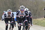 Team Sunweb riders on gravel sector 6 Pieve a Salti during the 2017 Strade Bianche running 175km from Siena to Siena, Tuscany, Italy 4th March 2017.<br /> Picture: Eoin Clarke | Newsfile<br /> <br /> <br /> All photos usage must carry mandatory copyright credit (&copy; Newsfile | Eoin Clarke)