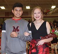 RICK PECK/SPECIAL TO MCDONALD COUNTY PRESS<br /> Freshman queen attendant Kirklyn Kasischke is escorted by freshman king attendant Matthew Mora