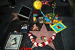 "GEORGE HARRISON WALK OF FAME STAR. Birthday and memorial wishes laid at the star at the George Harrison Public Birthday Celebration by the Alliance for Survival, hosted by Jerry Rubin and ""Breakfast with the Beatles"" radio host Chris Carter at George Harrison's star on the Walk of Fame. Hollywood, CA, USA. February 25, 2010."