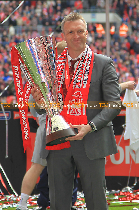 Crewe Alexandra Manager Steve Davis with the Trophy - Crewe Alexandra vs Southend United - Johnstones Paint Trophy Final at Wembley Stadum, London - 07/04/13 - MANDATORY CREDIT: Simon Roe/TGSPHOTO - Self billing applies where appropriate - 0845 094 6026 - contact@tgsphoto.co.uk - NO UNPAID USE