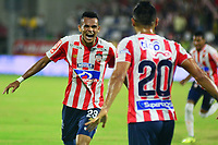 BARRANQUILLA- COLOMBIA, 12-08-2018: Luis Díaz jugador del Atlético Junior  celebra su gol contra el Atlético Huila   durante partido por la fecha 4 de la Liga Águila II 2018 jugado en el estadio Romelio Martínez de la ciudad de Barranquilla. /Luis Diaz player of Atletico Junior celebrates his goal against  of Atletico Huila  during the match for the date 4 of the Liga Aguila II 2018 played at the Romelio Martinez Stadium in Barranquilla  city. Photo: VizzorImage / Alfonso Cervantes / Contribuidor