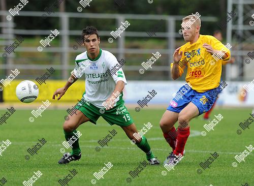 2011-08-21 / Voetbal / seizoen 2011-2012 / Dessel Sport - FC Hoei /  Zico Gielis (L, Dessel) met Verlaine..Foto: mpics