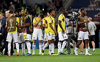 MOSCU - RUSIA, 03-07-2018: Mateus URIBE, Juan CUADRADO Cristian ZAPATA y Jefferson LERMA jugadores de Colombia lucen decepcionados después del partido de octavos de final entre Colombia y Inglaterra por la Copa Mundial de la FIFA Rusia 2018 jugado en el estadio del Spartak en Moscú, Rusia. / Mateus URIBE, Juan CUADRADO, Cristian ZAPATA and Jefferson LERMA players of Colombia look disappointed after the match between Colombia and England of the round of 16 for the FIFA World Cup Russia 2018 played at Spartak stadium in Moscow, Russia. Photo: VizzorImage / Julian Medina / Cont