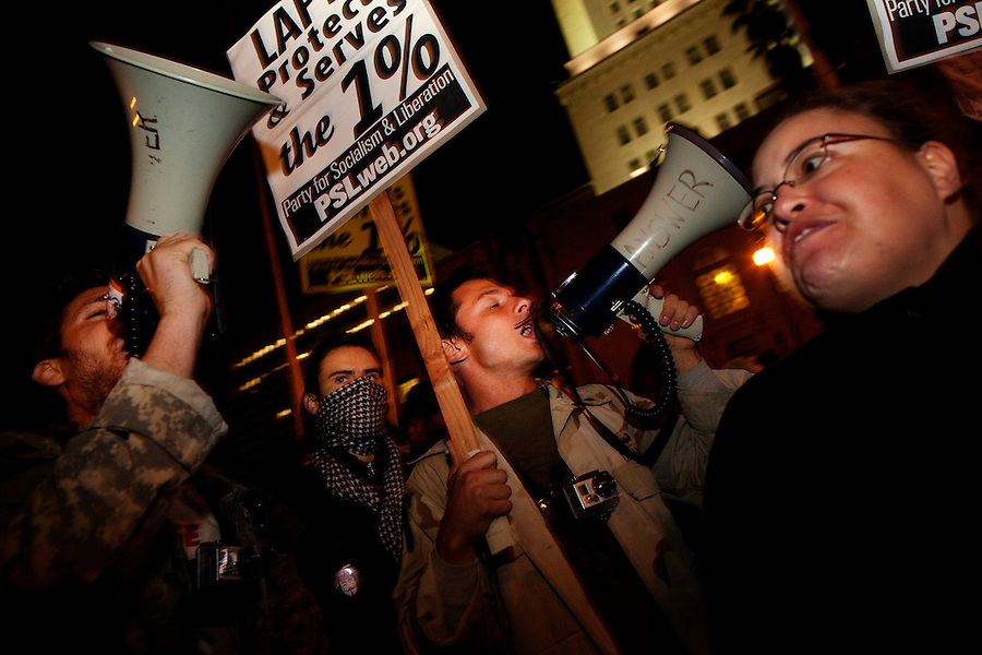 Los Angeles, California, November 30, 2011 - Approximately 1,400 Los Angeles police officers enforced a mandatory evacuation of City Hall Park by Occupy LA protestors who had been camping in the park for the past eight weeks. About 200 arrests were made of those refusing to leave.