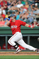 Left fielder Kevin Mager (24) of the Greenville Drive bats in a game against the Augusta GreenJackets on Friday, July 11, 2014, at Fluor Field at the West End in Greenville, South Carolina. Greenville won, 7-6. (Tom Priddy/Four Seam Images)