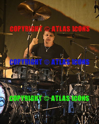MIAMI BEACH FL - OCTOBER 16: Ray Luzier of Korn performs at The Fillmore on October 16, 2015 in Miami Beach, Florida. Credit Larry Marano © 2015