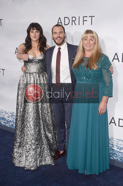 "Shailene Woodley, Sam Claflin, Tami Oldham<br /> at the ""Adrift"" World Premiere, Regal Cinemas L.A. Live, Los Angeles, CA 05-23-18<br /> David Edwards/DailyCeleb.com 818-249-4998"