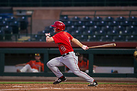 AZL Angels center fielder Jacob Pearson (2) bats during a game against the AZL Giants on July 10, 2017 at Scottsdale Stadium in Scottsdale, Arizona. AZL Giants defeated the AZL Angels 3-2. (Zachary Lucy/Four Seam Images)
