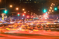 AVAILABLE FROM JEFF AS A FINE ART PRINT.<br /> <br /> AVAILABLE FOR COMMERCIAL AND EDITORIAL LICENSING FROM GETTY IMAGES.  Please go to www.gettyimages.com and search for image # 88696192.<br /> <br /> Blurred Motion View of Traffic on First Avenue during the Evening Rush Hour, East Village, New York City, New York State, USA