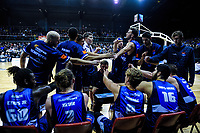 The Giants huddle during the national basketball league semifinal match between Nelson Giants and Southland Sharks at TSB Bank Arena in Wellington, New Zealand on Saturday, 4 August 2018. Photo: Dave Lintott / lintottphoto.co.nz
