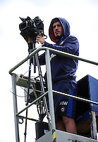 Bath Rugby Performance Analyst Matthew Watkins films the training session. Bath Rugby pre-season training session on August 9, 2016 at Farleigh House in Bath, England. Photo by: Patrick Khachfe / Onside Images