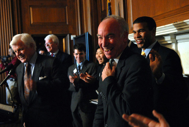 Rep. Joe Courtney, D-Conn., shares a laugh with Sen. Ted Kennedy, D-Mass., left, and Rep. George Miller, D-Calif., background, during a news conference with college students to urge Congress to act quickly on legislation to cut interest rates in half on federal college loans for students most in need.