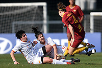 Federica Polverino, Ilaria Filippi of Roma CF and Angelica Soffia of AS Roma compete for the ball during the Women Italy cup round of 8 second leg match between AS Roma and Roma Calcio Femminile at stadio delle tre fontane, Roma, February 20, 2019 <br /> Foto Andrea Staccioli / Insidefoto