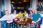 Robert Gallagher, Donie Broderick, Sheila O'Mahony, Marian, Margaret and Gabriel Gallagher Kilcummin enjoying a meal in the Mad Monks restaurant Killarney on Saturday night
