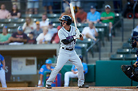 Tyler Frost (5) of the Winston-Salem Dash at bat against the Myrtle Beach Pelicans at TicketReturn.com Field on May 16, 2019 in Myrtle Beach, South Carolina. The Dash defeated the Pelicans 6-0. (Brian Westerholt/Four Seam Images)