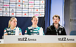 Stockholm 2015-04-11 Fotboll Damallsvenskan Hammarby IF DFF - Mallbackens IF Sunne  :  <br /> Mallbackens Frida Brostr&ouml;m , Elin Nyman och tr&auml;nare David Kjellin ser nedst&auml;md ut p&aring; presskonferensen efter matchen mellan Hammarby IF DFF och Mallbackens IF Sunne  <br /> (Foto: Kenta J&ouml;nsson) Nyckelord:  Fotboll Damallsvenskan Dam Damer Tele2 Arena Hammarby HIF Bajen Mallbacken depp besviken besvikelse sorg ledsen deppig nedst&auml;md uppgiven sad disappointment disappointed dejected tr&auml;nare manager coach