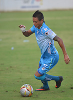 MONTERIA - COLOMBIA -10-02-2015: Denis Gomez jugador de Jaguares FC, en acción durante  partido entre Jaguares FC y Deportivo Pasto,  por la fecha 3 de la Liga de Aguila I 2015 en el estadio Municipal de Monteria en la ciudad de Monteria. / Denis Gomez player of Jaguares FC in action during a match Jaguares FC and Deportivo Pasto for date 3 of the Liga de Aguila I 2015 at the Municipal de Monteria stadium in Monteria city. Photo: VizzorImage / Jose Perdomo / Cont