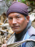 Bobbor carried my pack for a week trekking in Langtang National Park. He used a strap over his forehead to take the weight of the load on his back.
