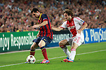 UEFA Champions League 2013/2014.<br /> FC Barcelona vs AFC Ajax: 4-0 - Game: 1.<br /> Lionel Messi vs Daley Blind.