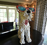 """In the living room/TV room this papier-mâché' dog atop her Mason & Hamlin piano is actually a clock, and the tongue is a swinging pendulum.  """"At Home"""" with Margaret Lowery in her Lake Christine Drive home in Belleville, IL on July 24, 2019. <br /> Photo by Tim Vizer"""