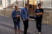Budapest, Hungary. Teenage boys in denim jeans jackets.