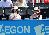 June 19th 2017, Queens Club, West Kensington, London; Aegon Tennis Championships, Day 1; Two tennis fans attempting to cool down during the match between Adrian Mannarino of France vs Jo-Wilfried Tsonga of France
