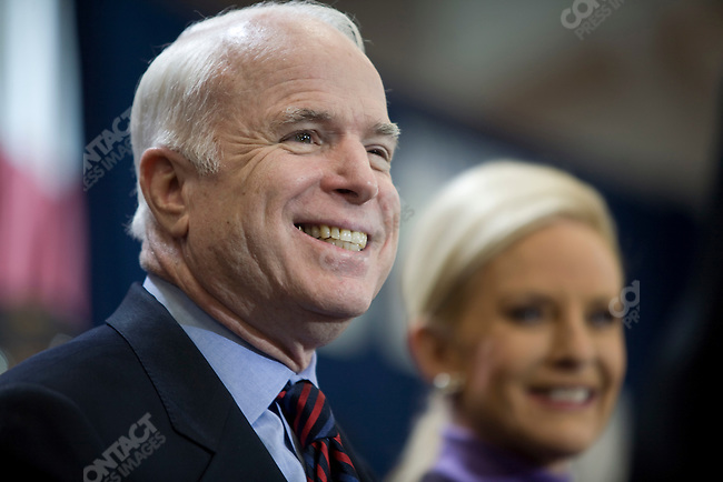 "Senator John McCain (R-AZ), potential Republican presidential candidate, and his wife, Cindy, attend a campaign rally packed with supporters in a push for ""Super Tuesday"" votes. Nashville, Tennessee, February 2, 2008."