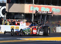 Jul. 25, 2014; Sonoma, CA, USA; NHRA top fuel driver Terry McMillen during qualifying for the Sonoma Nationals at Sonoma Raceway. Mandatory Credit: Mark J. Rebilas-