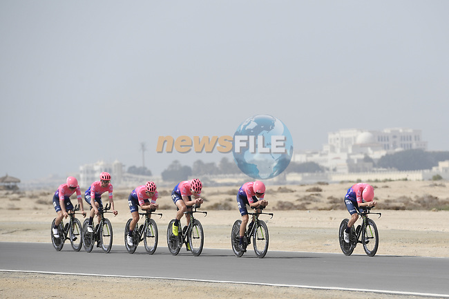 EF Education First motor along during Stage 1 of the 2019 UAE Tour, a team time trial running 16km around Al Hudayriat Island, Abu Dhabi, United Arab Emirates. 24th February 2019.<br /> Picture: LaPresse/Fabio Ferrari | Cyclefile<br /> <br /> <br /> All photos usage must carry mandatory copyright credit (© Cyclefile | LaPresse/Fabio Ferrari)