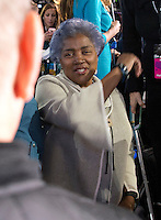 Donna Brazile on the Main Press Riser during the Hillary Clinton Election Night Event at the Jacob K. Javits Convention Center in New York, New York on Tuesday, November 8, 2016.<br />