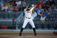 Seth Beer (8) of the Fayetteville Woodpeckers at bat against the Salem Red Sox at Segra Stadium on May 15, 2019 in Fayetteville, North Carolina. The Woodpeckers defeated the Red Sox 6-2. (Brian Westerholt/Four Seam Images)