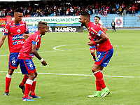 PASTO -COLOMBIA, 14-05-2017. Santiago Trellez jugador del Deportivo Pasto celebra su gol contra  el Deportes Tolima.Acción de juego entre el  Deportivo Pasto contra Deportes Tolima  ,  encuentro  por la fecha 18 de la Liga Aguila I 2017  disputado en el estadio La Libertad ./  Santiago Trellez player of Deportivo Pasto celebrates his goal  agaisnt Deportes Tolima.Action game between   Deportivo Pasto and Deportes Tolima  during match for the date 18 of the Aguila League I 2017 played at La Libertad  stadium . Photo:VizzorImage / Leonardo Castro / Contribuidor