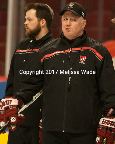 (Robinson) Ted Donato (Harvard - Head Coach) - The Harvard University Crimson practiced at the United Center on Wednesday, April 5, 2017, in Chicago, Illinois.