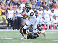 College Park, MD - September 9, 2017: Towson Tigers wide receiver Jabari Allen (18) catches a pass during game between Towson and Maryland at  Capital One Field at Maryland Stadium in College Park, MD.  (Photo by Elliott Brown/Media Images International)