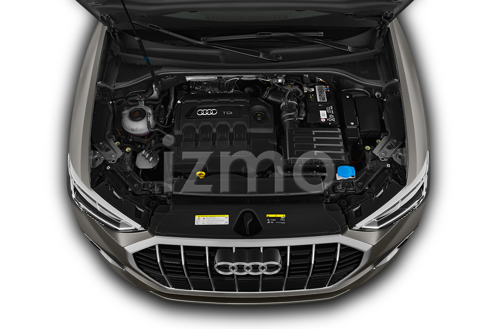 Car Stock 2019 Audi Q3 S-line 5 Door SUV Engine  high angle detail view