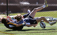 Penn State women's rugby Amanda Berta scores a try against Michigan women's rugby during the Big Ten Women's Rugby 7's Tournament on April 9, 2017. Penn State won 49-0. Photo/©2017 Craig Houtz
