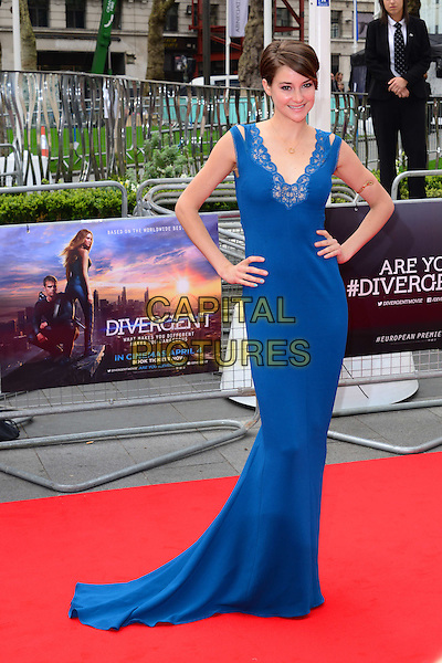LONDON, ENGLAND - MARCH 30: Shailene Woodley attend Divergent UK film premiere, a thriller set in a futuristic dystopia that divides people based on their human traits, at Odeon Leicester Square, 24-26 Leicester Square, on March 30, 2014, in London, England.  <br /> CAP/JOR<br /> &copy;Nils Jorgensen/Capital Pictures