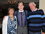 Ciaran Collier Holdcroft celebrating his 21st birthday in the Boyne Valley hotel with parents Brendan and Rita. Photo: Colin Bell/pressphotos.ie
